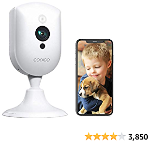 Baby Monitor, Conico 1080P WiFi Security Home Camera System with Sound Motion Detection IR Night Vision/2- Way Audio 8X Zoom, WiFi Pet Camera Cloud Service Compatible with Alexa, 2.4Ghz WiFi