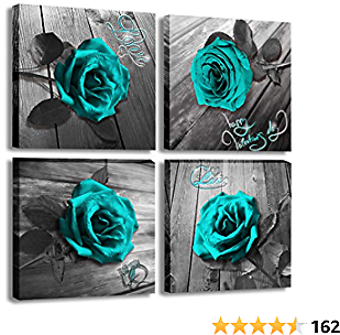 Canvas Wall Art Teal Blue Rose Canvas Prints Black and White Turquoise Floral Artwork Modern Frame Flower Pictures Canvas Art Wall Decor for Bedroom Living Room
