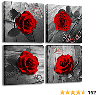 Red Rose Canvas Wall Art Flower Canvas Print Black and White Wall Paintings for Bedroom Bathroom Couple Love Women Valentines Gift Home Decor Artwork