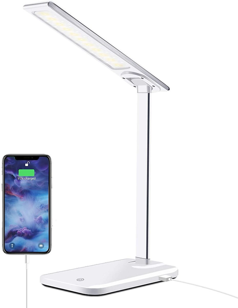 GSBLUNIE LED Desk Lamp with USB Charging Port, Dimmable Office Lamp,3 Lighting Modes 6 Brightness Levels, Touch Control,Eye-Cari