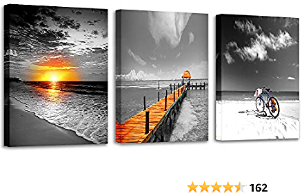 3 Pieces Canvas Wall Art Beach Pictures Wall Art Sunrise Canvas Prints Modern Black and White Landscape Painting Pictures for Bedroom Living Room Wall Decor