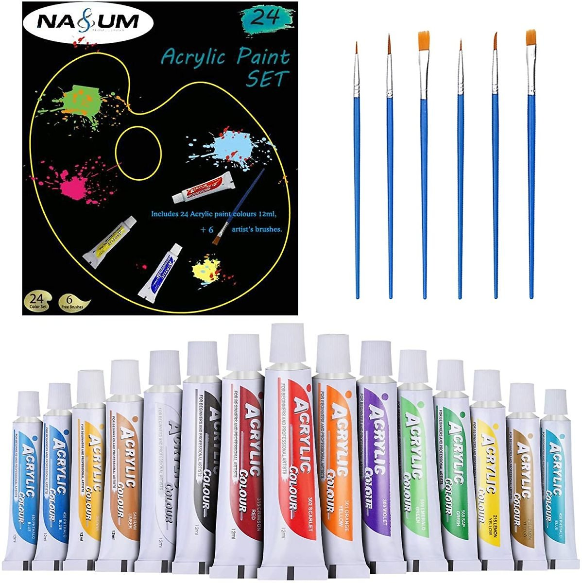 Acrylic Paint Set, NASUM 24 Color Tubes of 0.4 Oz (12 Ml) & 6 Painting Brush, Art Set for Kids, Students, Beginners, Artists, Cr