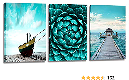 Ocean Canvas Wall Art Seascape Canvas Art Wall Boat Beach Painting Pictures Teal Coastal Wall Art for Living Room Bedroom Decor 3 Pieces