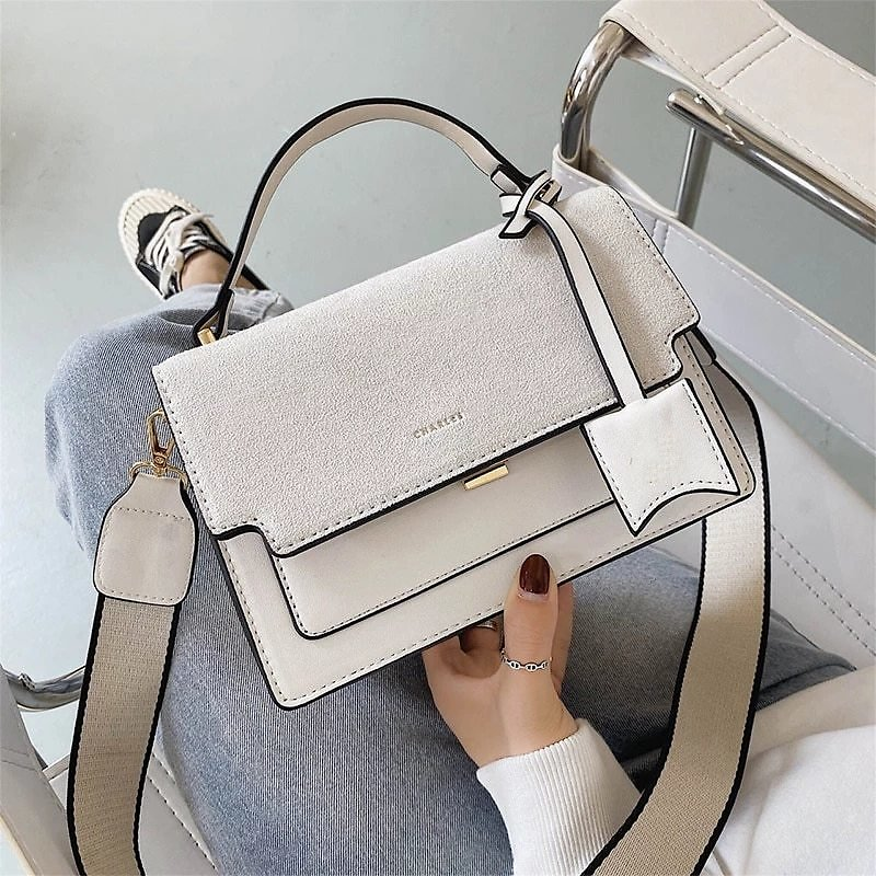 New Branded Suede Leather Square Shoulder Messenger Bags For Women Fashion Trend Handbags And Purse Luxury Designer Corss Body