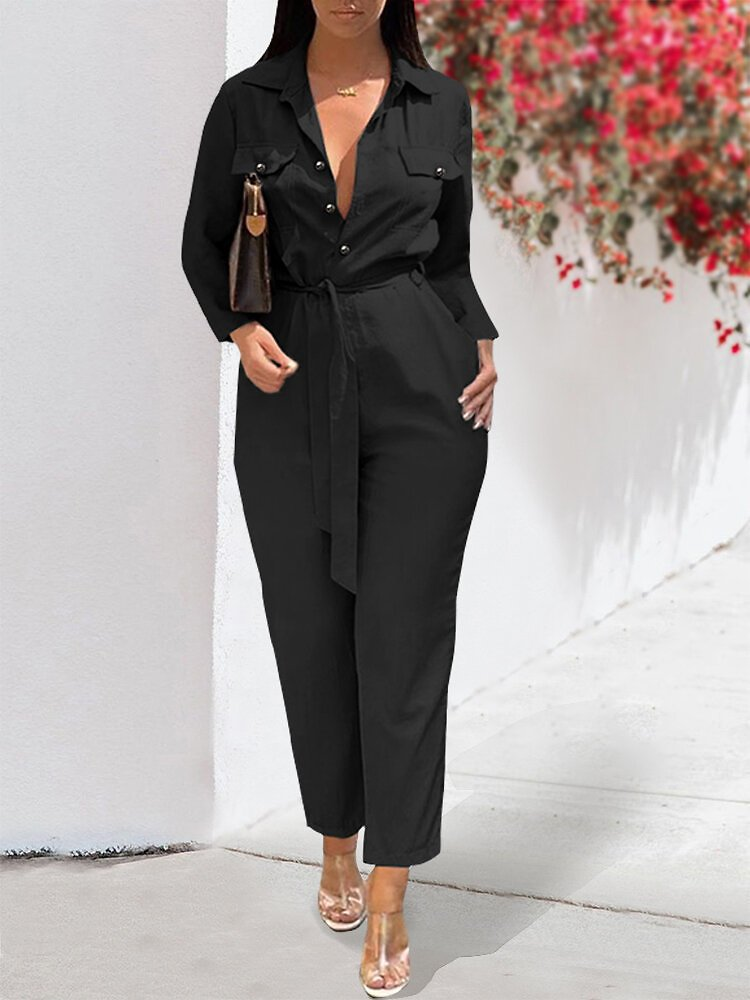 Solid Color Pockets Knotted Casual Jumpsuit For Women