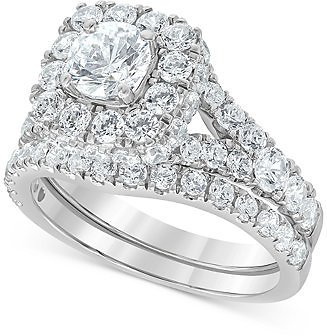 Limited-Time Special Macy's Diamond Halo Bridal Set (3 Ct. T.w.) in 14k White Gold & Reviews