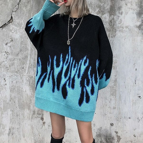 US $14.71 40% OFF|High Street Flame Jacquard Loose Pullover Couple Knitted Sweater Hip Hop Style Woman Sweater Fall 2020 Women|Pullovers| - AliExpress
