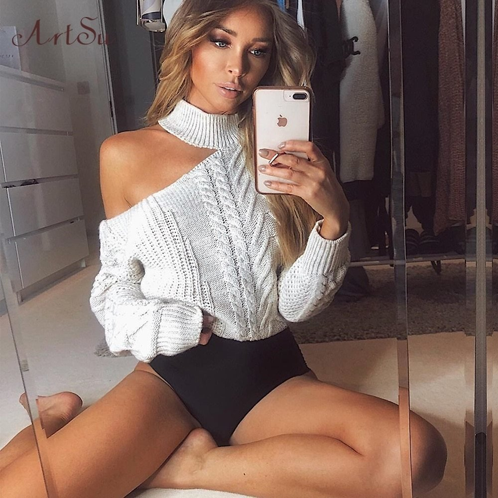 US $13.72 51% OFF|ArtSu Women's Sweaters 2019 New Casual Solid Loose Sweater Bare Shoulders Knitted Pullovers Winter Oversized Sweaters ASSW60310|Pullovers| - AliExpress