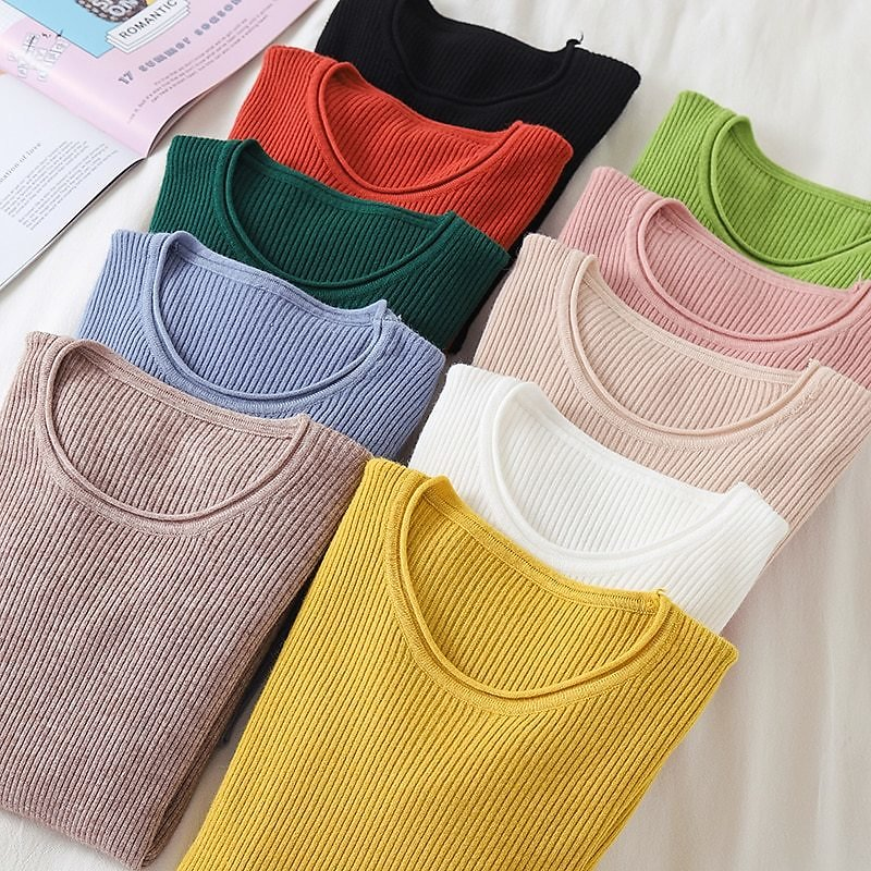 US $8.99 50% OFF Korean Sweater Women Knitted Sweaters for Women Long Sleeve Basic White Sweater Plus Size Autumn Woman Knit Pullover Sweaters XL Pullovers  - AliExpress