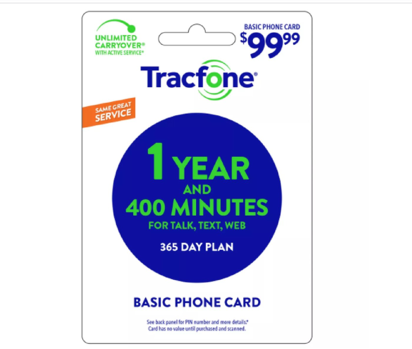 TracFone $99.99 400 Minutes 1 Year Prepaid Card (Email Delivery)