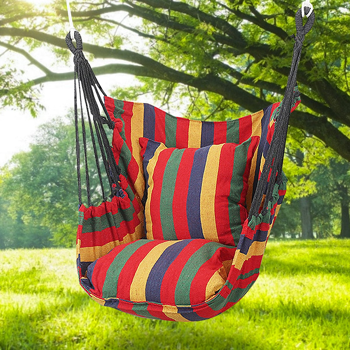 Outdoor Hammock Chair Swing, Carrying Bag for Indoor Outdoor,Large Hanging Rope Seat with 2 Pillow Storage Bag, Weight Capacity