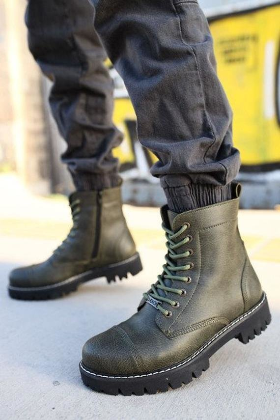 Eco Leather Boots, Ankle Boots, Combat Boots, Military Boots, Lace Up Work Boots, Combat Army Boots, Chunky Boots, Mens Ankle Boots,