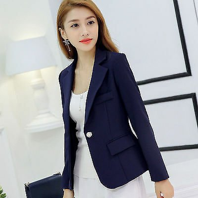 Fashion Women Business Blazer Formal Coat Slim Fit Jacket One Button Casual Suit