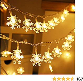 Sbg Christmas Lights, 24.8 Ft 50 Led Fairy Lights Battery Operated 2 Modes 5 Sticking Hooks Xmas Indoor Outdoor Tree Garden Patio Bedroom Party Decorations, Warm White.