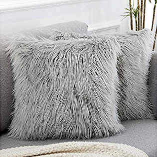 NOT BRANDED Nroyalnin Set of 2 Decorative Light Gray Fluffy Pillow Covers New Luxury Series Merino Style Faux Fur Throw Pillow Covers Square Fuzzy Cushion Case 18x18 Inch