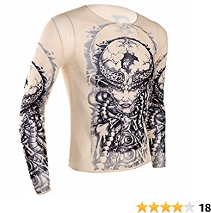 Iiniim Men's Fake Tattoo Tribal Inspired Print Elastic Long Sleeve T-Shirt Tops Clubwear