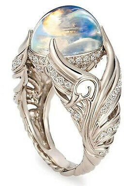 Elegant 925 Silver Moonstone CZ Ring Women Wedding Party Jewelry Gift Size 5-13
