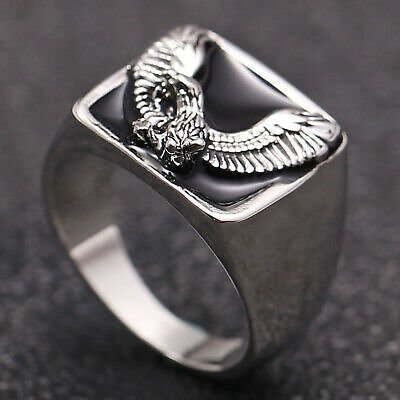 Fashion Men's Personality Filled 925 Silver Eagle Rings Jewelry Party Gifts
