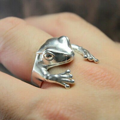 Cute Frog Animal Ring Women 925 Silver Retro Personality Punk Jewelry Size 5-10