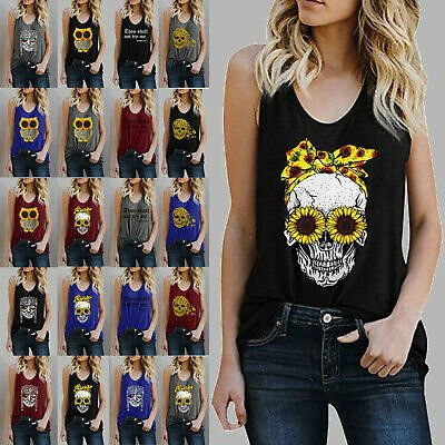 Womens Casual O-Neck Blouse Print Sleeveless T-Shirt Summer Tank Tops Vest