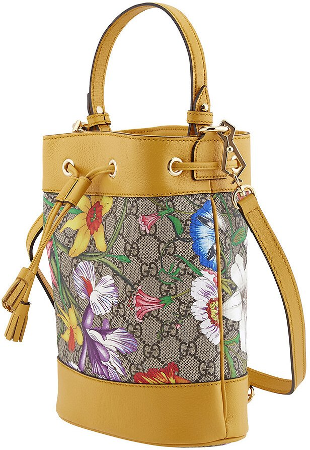 Gucci Ophidia GG Flora Pattern Small Bucket Bag in Yellow