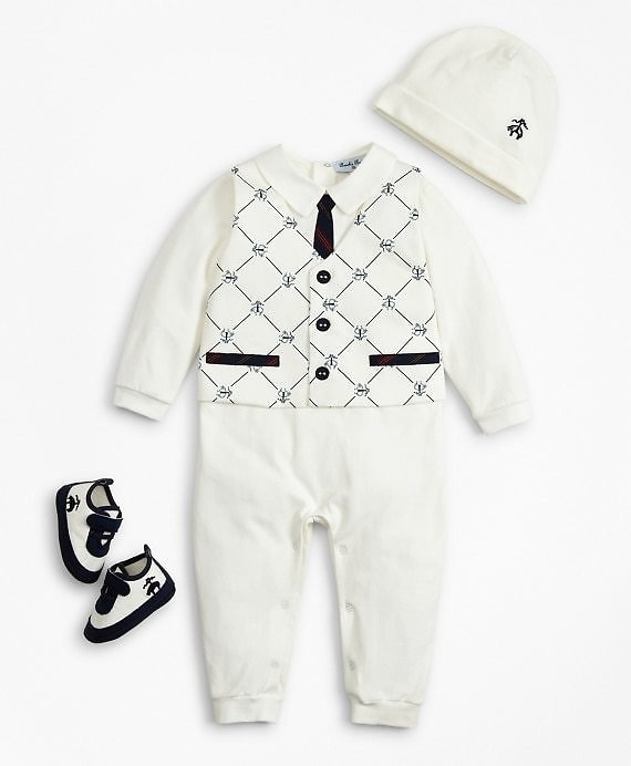 Boys Vest Coverall, Hat & Booties Set - 12 Months - Brooks Brothers