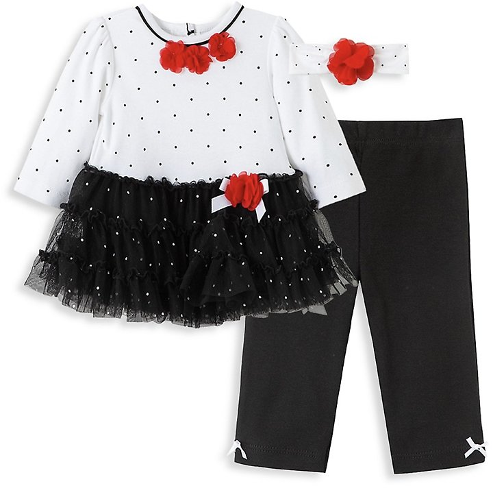Little Me Baby Girl's 3-Piece Dotted Tulle Dress, Leggings & Headband Set On SALE | Saks OFF 5TH