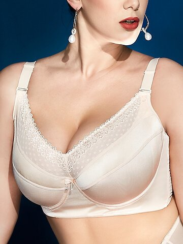 Plus Size Full Coverage Lace Patchwork Thin Push Up Bras