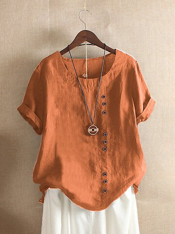 Solid Color Button Short Sleeve Crew Neck T-shirt For Women