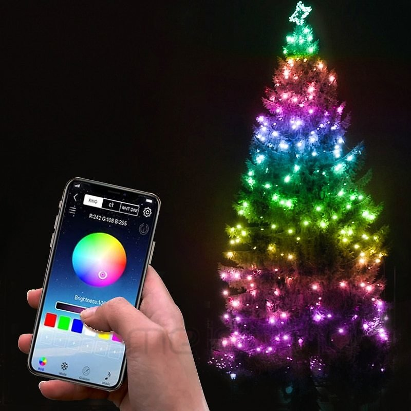 US $7.6 45% OFF|Christmas Tree Deco RGB Bluetooth String Lights Merry Xmas For Home 2020 USB Smart Lamp Navidad Noel Gifts New Year Decoration|Pendant & Drop Ornaments| - AliExpress
