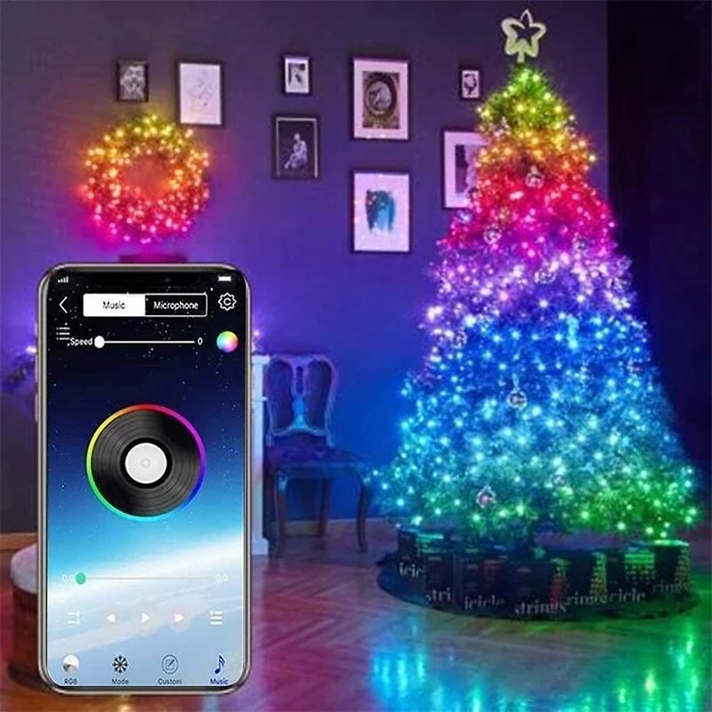 US $14.65 9% OFF|Christmas Tree Decoration Lights Customized Smart Bluetooth LED Personalized String Lights App Remote Control Lights Dropship|Pendant & Drop Ornaments| - AliExpress