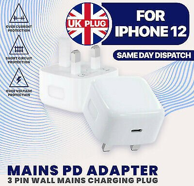 UK Plug PD 18W USB-C Type C Fast Wall Charger Adapter For IPhone 12 Pro Max STO