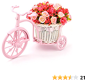 Louis Garden Nostalgic Bicycle Artificial Flower Decor Plant Stand (Red)