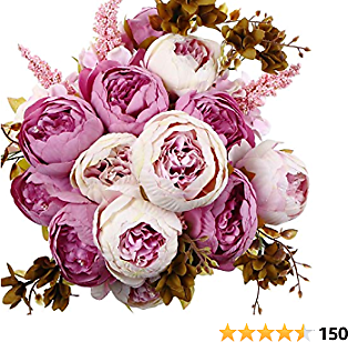 ANWBROAD Artificial Peony Flower Vintage Fake Flowers Bouquets 2 PACK Realistic Silk Peonies Flowers Bouquet Home Wedding Office Party Decoration Floral Arrangements Centerpieces Light Purple ULAF001P