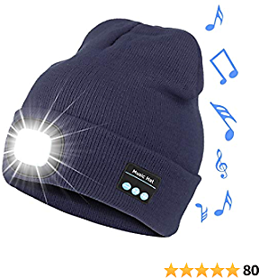 Bosttor Bluetooth Beanie Hat with Light, Upgraded Musical Knitted Cap with Headphone and Stereo Speakers & Mic, LED Hat for Running Hiking, Unisex Christmas Gifts for Men Women Teens, Navy Blue