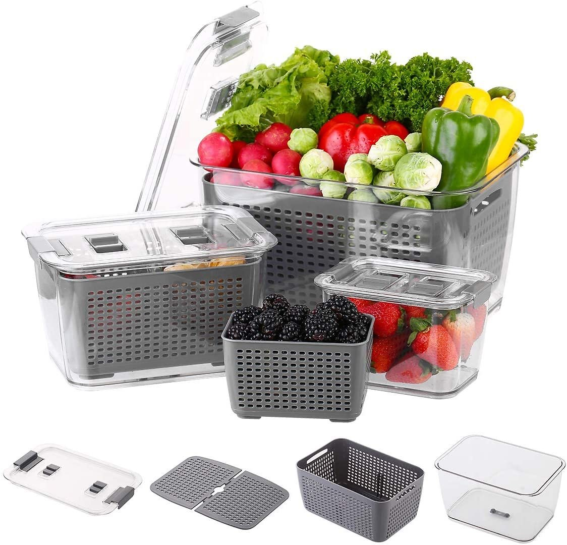 Mrt Pro Fresh Produce Vegetable Fruit Storage Containers - Fridge Food Storage Containers - Refrigerator Organizer Bins - Produce Saver Storage Containers - Draining Crisper with Strainers(3 Pack)