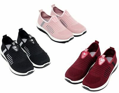 Womens Slip On Trainers Shoes Ladies Casual Gym Sports Running Pumps Sneakers