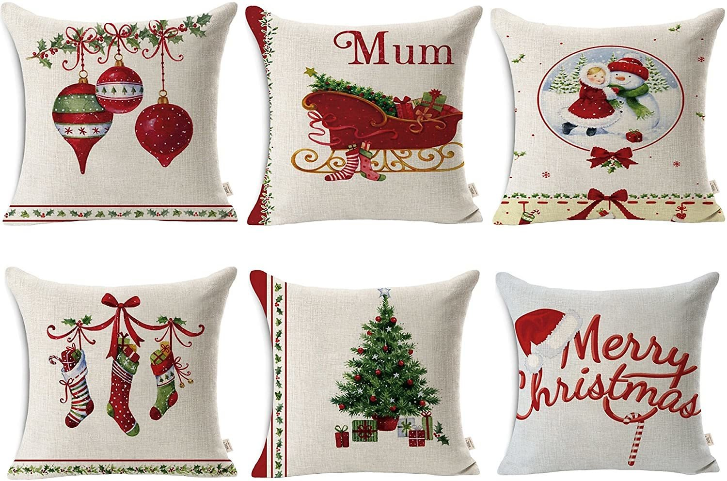 HOSL SD40 Christmas Pillow Covers 18 X 18 Merry Christmas Decorations Christmas Series Blend Linen Throw Pillow Case Decorative Cushion Cover Pillowcase Square 18