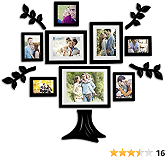 Art Street Family Tree Set of 8 Individual Wall Photo Frame with MDF Plaque - 4 Leaf,1 Trunk, Free Hanging Accessories Included Mix Size 4x6,5x5, 5X7, 6x8 Inchs