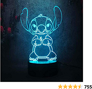 Amroe Cute Cartoon Stitch 3D Night Light 7 Colors Led Lamp USB Remote Touch Baby Room Bedroom Table Light Kids Christmas Gift