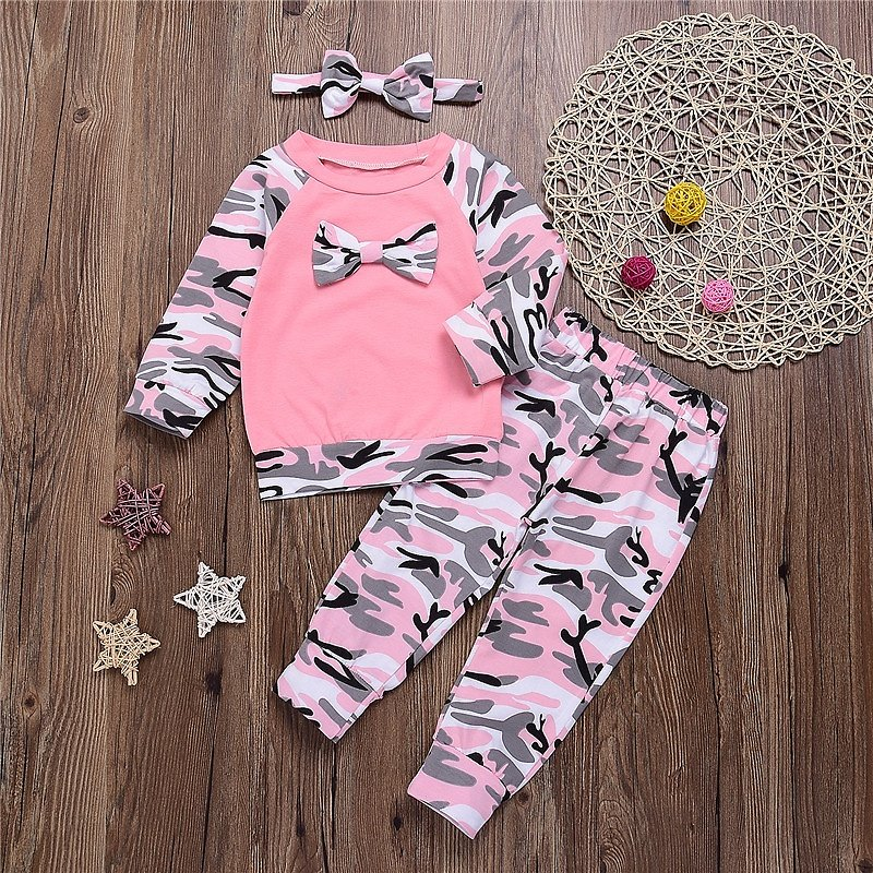 3-piece Bow Decor Camouflage Top Pants and Headband for Baby Girl