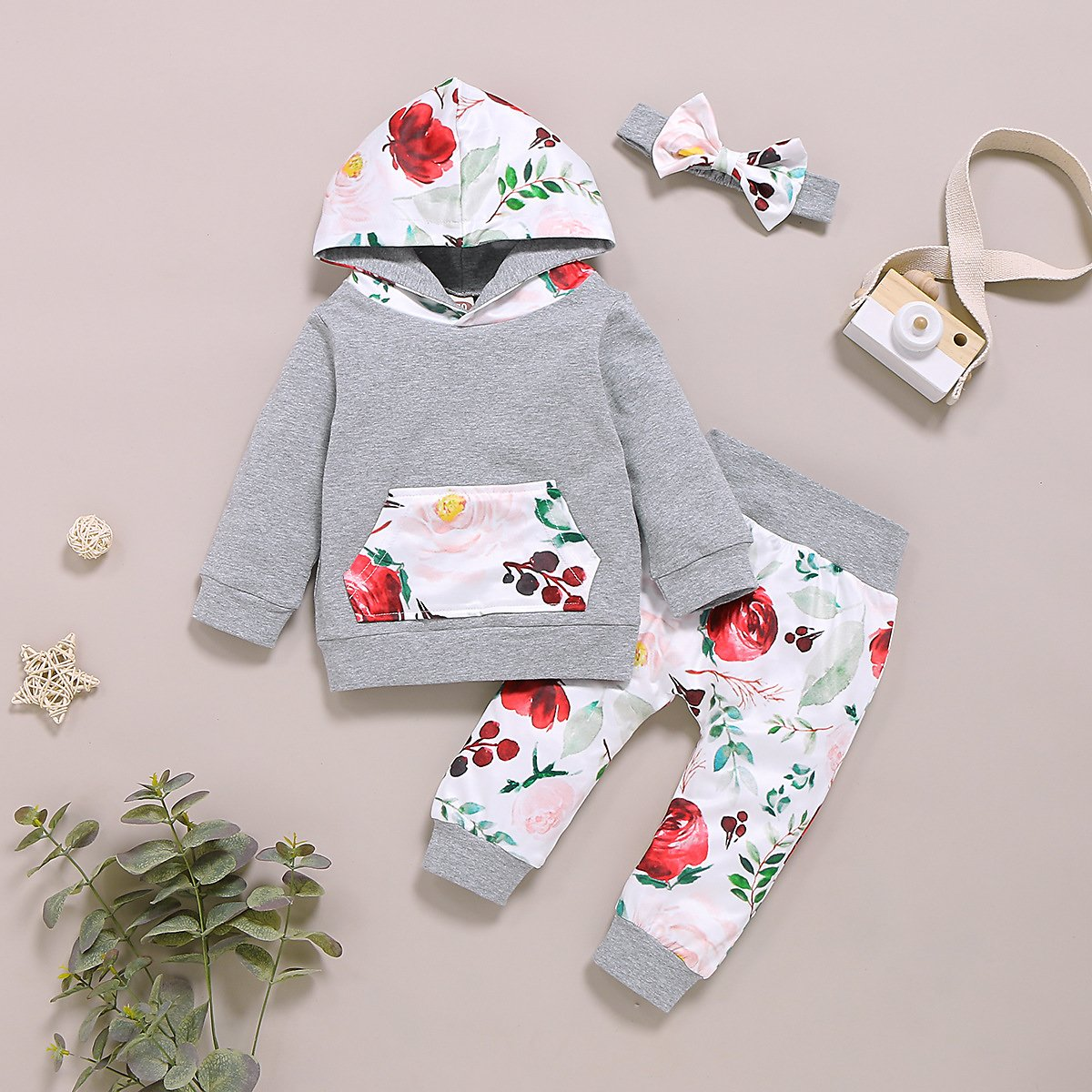 Allover Hoodie and Pants with Headband Set For Baby Girl