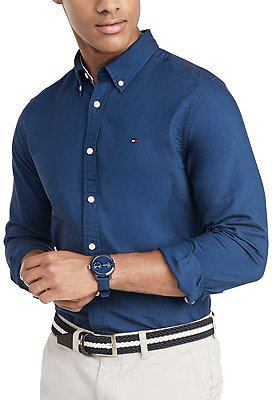 Tommy Hilfiger Men's Custom Fit New England Solid Oxford Shirt, Created for Macy's & Reviews - Casual Button-Down Shirts - Men