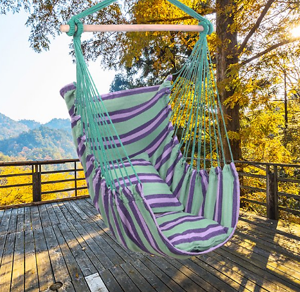 Large Hammock Chair Swing, Relax Hanging Rope Swing Chair with Two Seat Cushions & Carry Bag