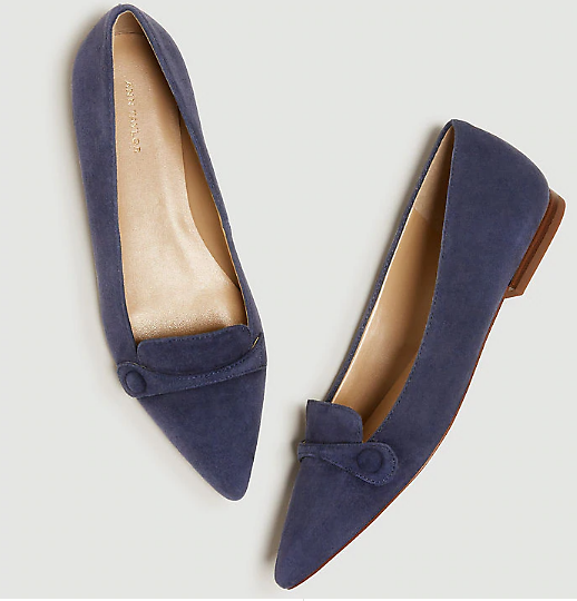 January Suede Button Flats