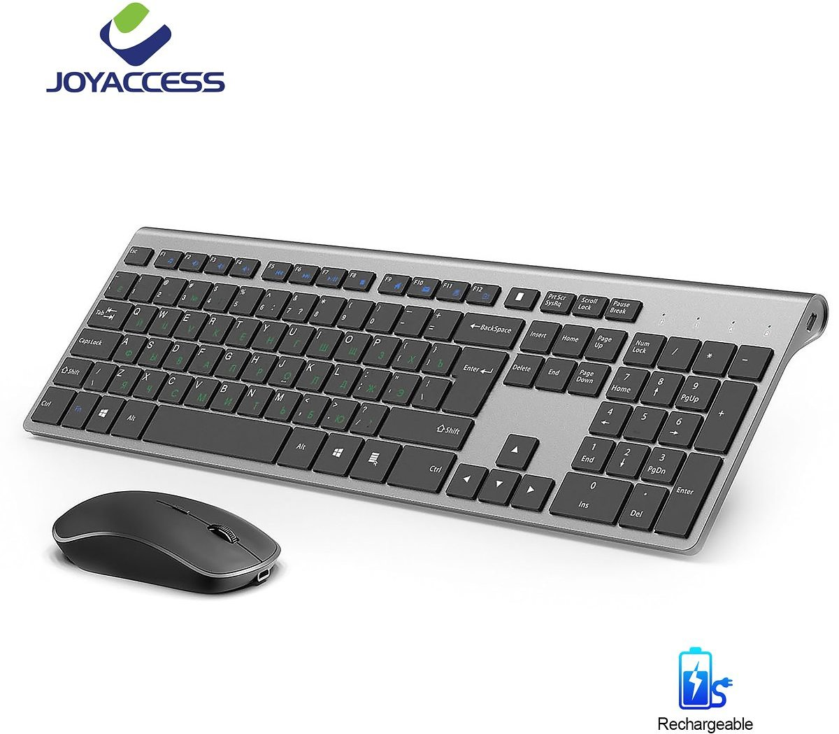 US $31.46 41% OFF|Russian Wireless Standard 106 Keys Keyboard Mouse Set Rechargeable Keyboard And Mouse Silent Mouse Slim Ergono