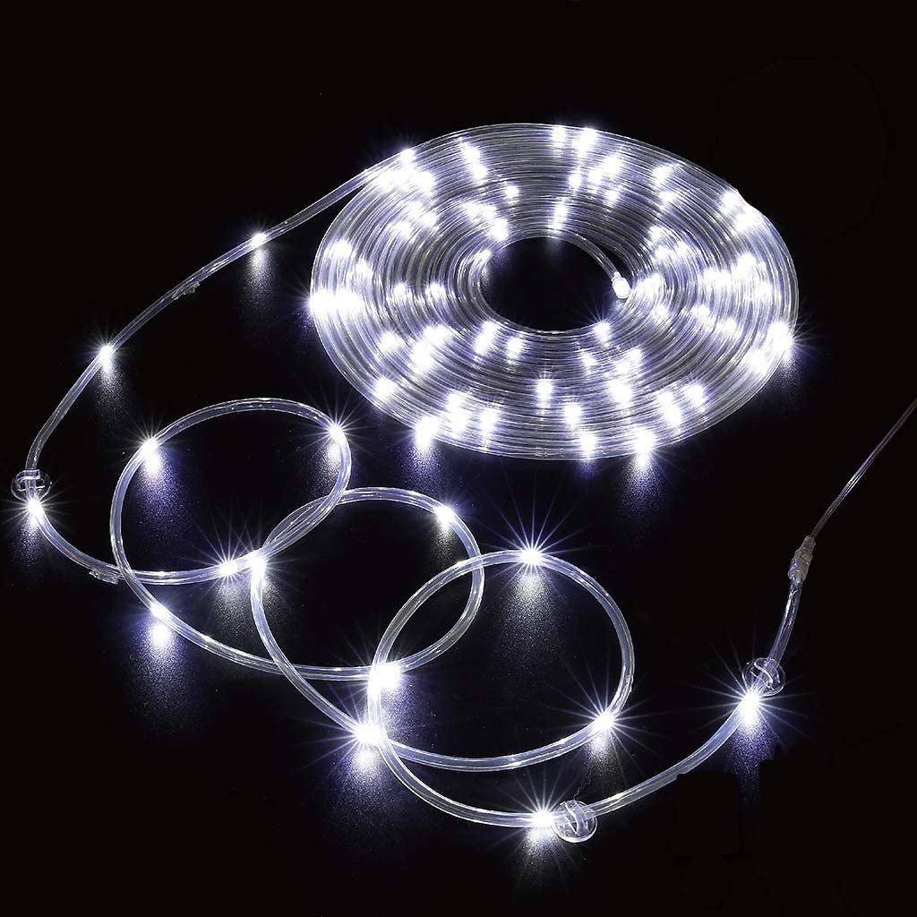 SINAMER 66ft 200 LED White Rope Lights with Clips, Plug In, Waterproof, Timer/Remote Control/8 Modes for Bedroom, Pool, Wall, In