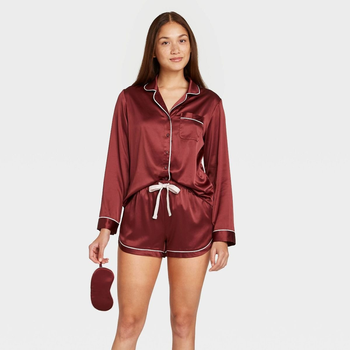 Women's 3pc Satin Long Sleeve Notch Collar Top and Shorts Pajama Set with Eye Cover - Stars Above™