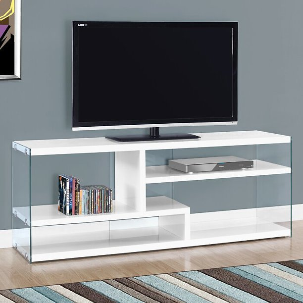 51'' High Gloss TV Stand - White Finish with Tempered Glass - For TVs Up To 60