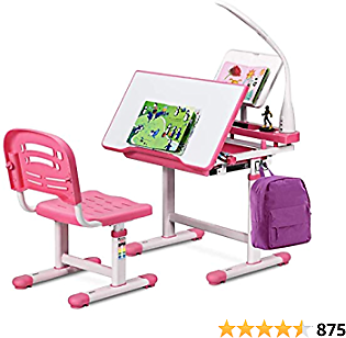 Gorilla Gadgets Kids Desk and Chair Set, Height Adjustable Children's Study Table, for Baby Bedroom,Game Rooms,Party,Home Theatre,Night Light (Pink)